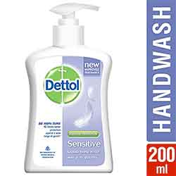 Dettol Handwash Sensitive 200ml Pump Liquid Soap