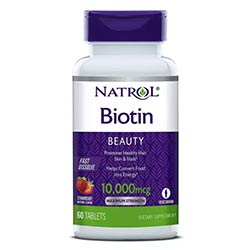 Natrol Biotin Beauty Tablets, Promotes Healthy Hair,  Skin & Nails, Helps Support Energy Metabolism, Helps Convert Food Into Energy, 10,000mcg, 60Count - USA