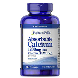 Puritan's Pride Absorbable Calcium 1200mg with Vitamin D 1000IU ( healthy bones, muscle, nerve function and for strong teeth ) 100 Softgels - USA