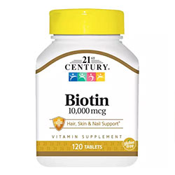 21st Century Biotin 10000 mcg, Essential Nutrient, Promotes Healthy Hair, Skin & Nails, Support Energy Metabolism, 120 Counts, USA